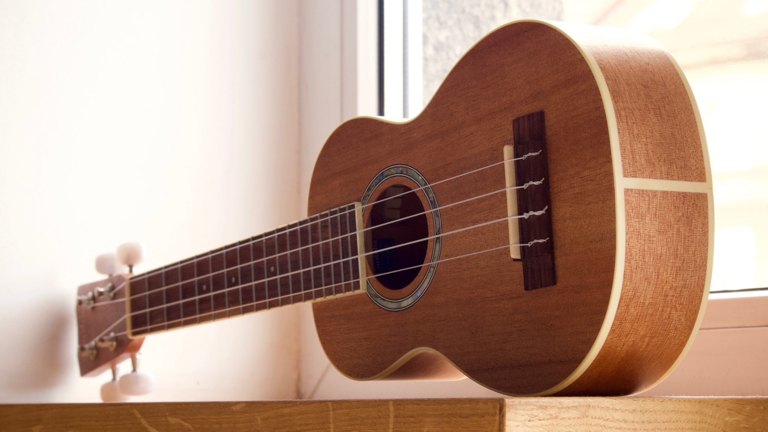 brown ukulele